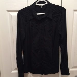 Bebe Black Button Down Shirt With Pleaded Detail